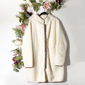 Cream Longline Teddy Shearling Zip-Up Coat Jacket